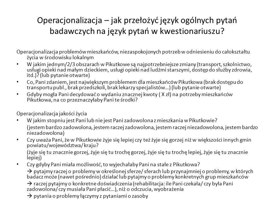 Operacjonalizacja – jak przełożyć język ogólnych pytań badawczych na język pytań w kwestionariuszu? Operacjonalizacja problemów mieszkańców, niezaspok