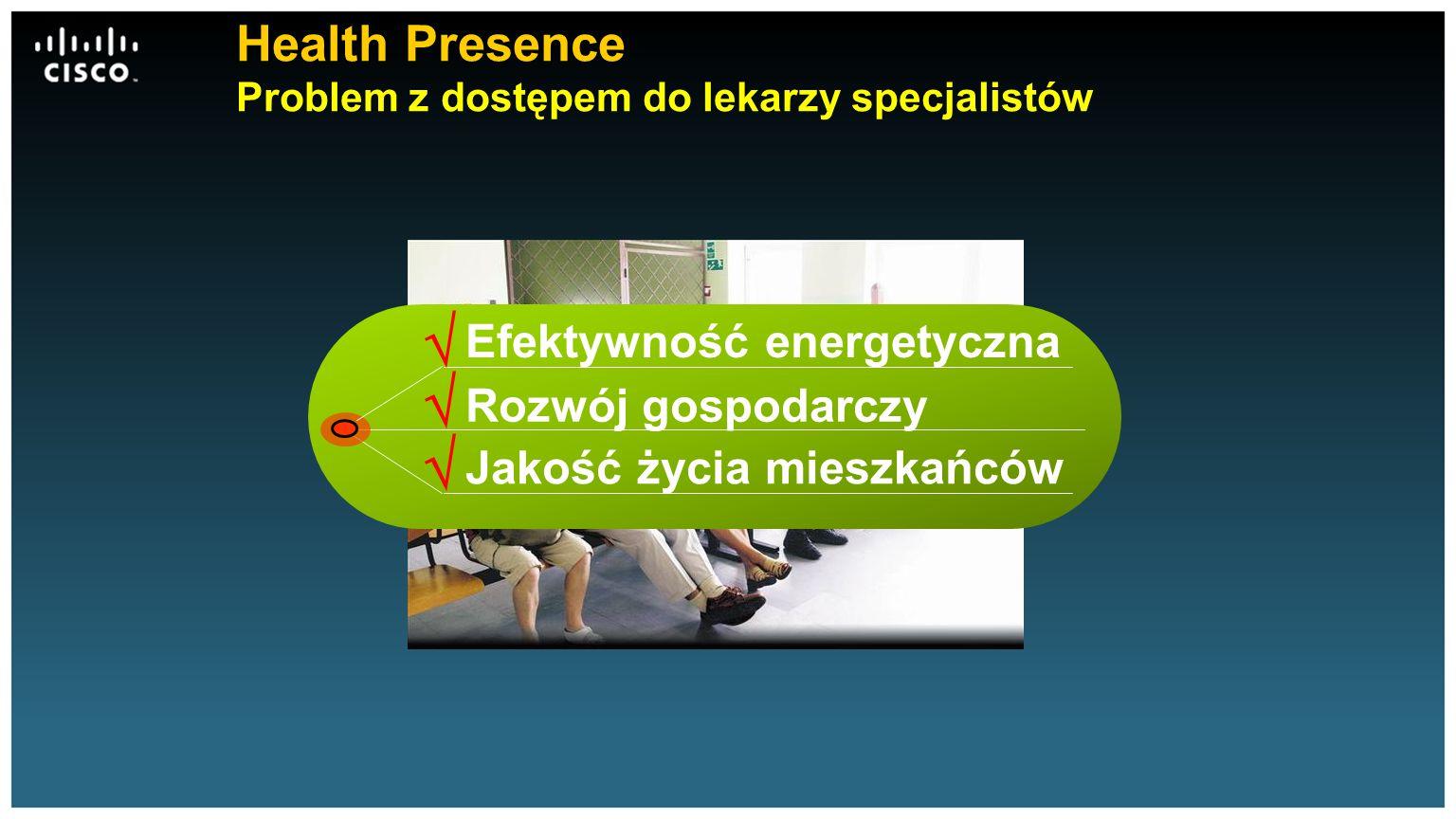 Health Presence Problem z dostępem do lekarzy specjalistów Rozwój gospodarczy Jakość życia mieszkańców Efektywność energetyczna   