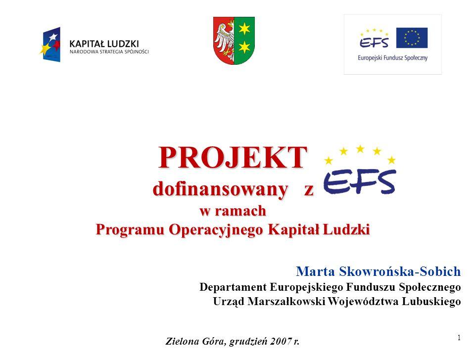 1 PROJEKT dofinansowany z w ramach Programu Operacyjnego Kapitał Ludzki Marta Skowrońska-Sobich Departament Europejskiego Funduszu Społecznego Urząd M
