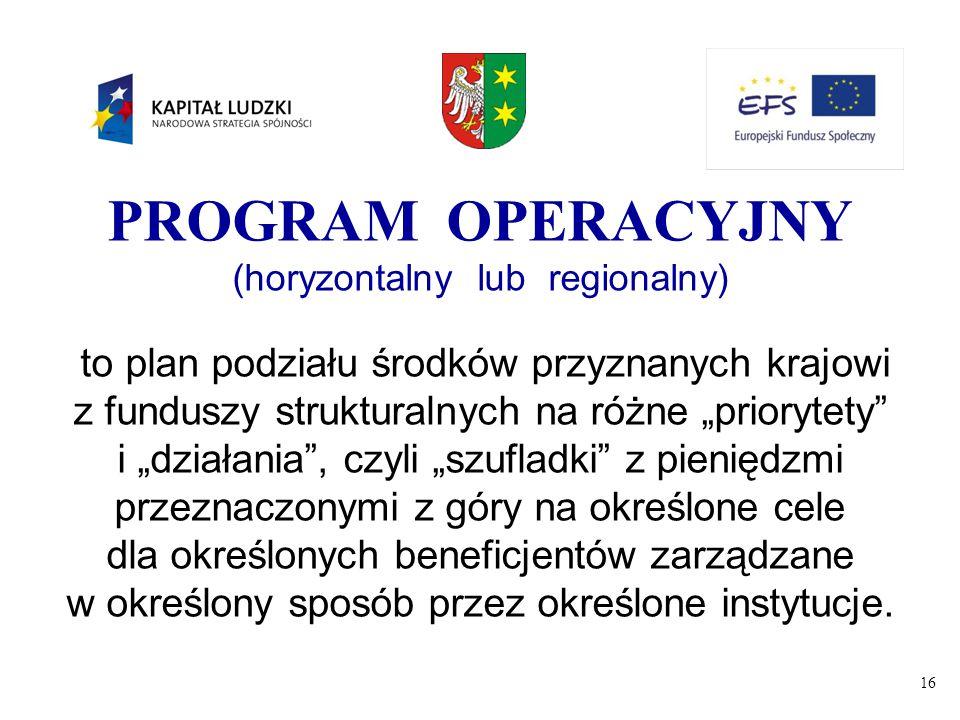 """16 PROGRAM OPERACYJNY (horyzontalny lub regionalny) to plan podziału środków przyznanych krajowi z funduszy strukturalnych na różne """"priorytety"""" i """"dz"""