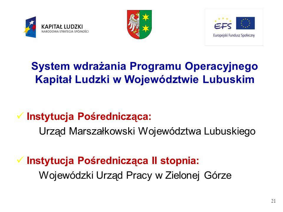 21 System wdrażania Programu Operacyjnego Kapitał Ludzki w Województwie Lubuskim Instytucja Pośrednicząca: Urząd Marszałkowski Województwa Lubuskiego