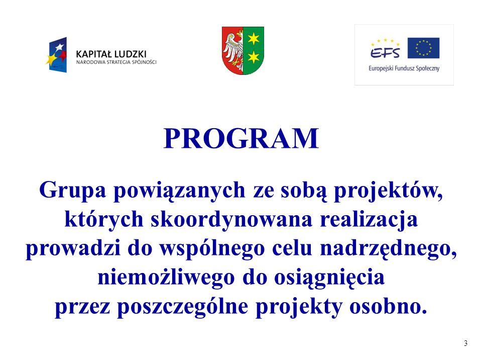 3 PROGRAM Grupa powiązanych ze sobą projektów, których skoordynowana realizacja prowadzi do wspólnego celu nadrzędnego, niemożliwego do osiągnięcia pr