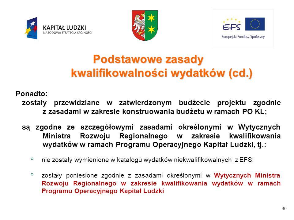 30 Podstawowe zasady kwalifikowalności wydatków (cd.) Ponadto: zostały przewidziane w zatwierdzonym budżecie projektu zgodnie z zasadami w zakresie ko