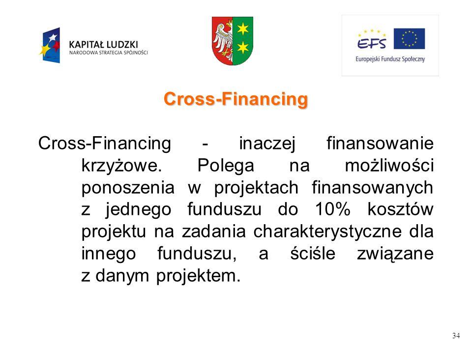 34 Cross-Financing Cross-Financing - inaczej finansowanie krzyżowe. Polega na możliwości ponoszenia w projektach finansowanych z jednego funduszu do 1