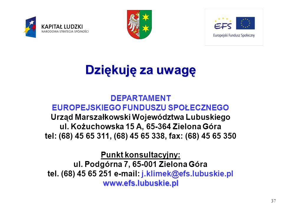 37 Dziękuję za uwagę DEPARTAMENT EUROPEJSKIEGO FUNDUSZU SPOŁECZNEGO Urząd Marszałkowski Województwa Lubuskiego ul. Kożuchowska 15 A, 65-364 Zielona Gó