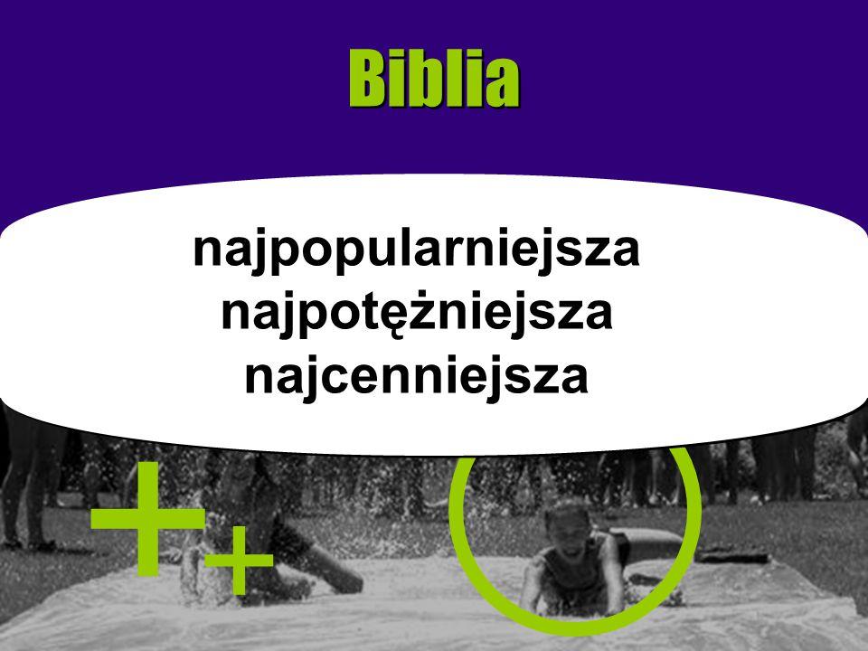 Biblia + + najpopularniejsza najpotężniejsza najcenniejsza