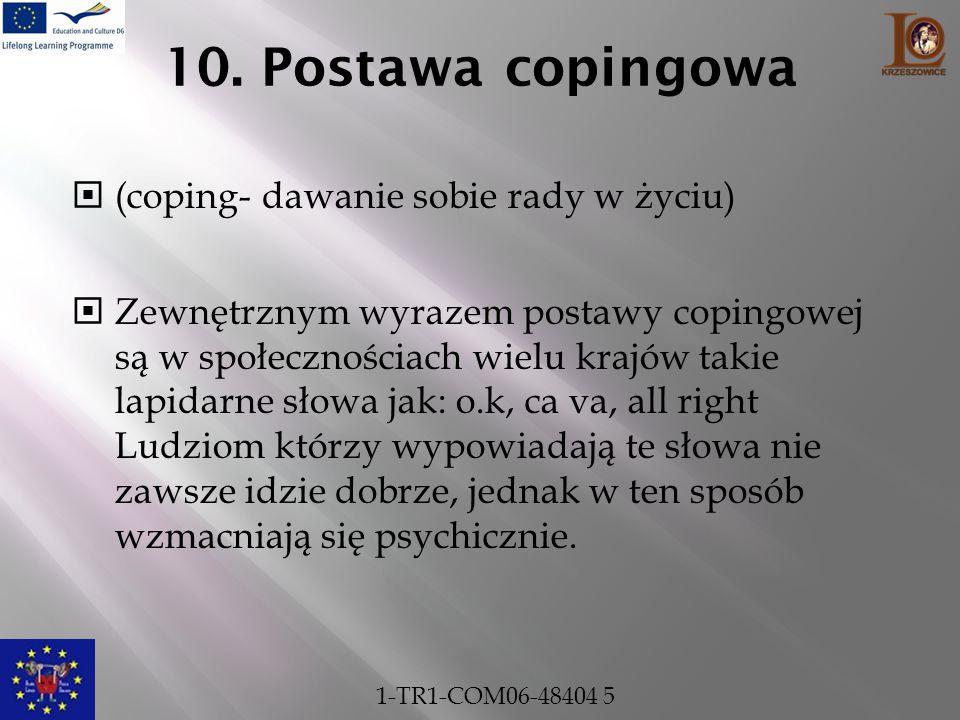 10. Postawa copingowa  (coping- dawanie sobie rady w życiu)  Zewnętrznym wyrazem postawy copingowej są w społecznościach wielu krajów takie lapidarn
