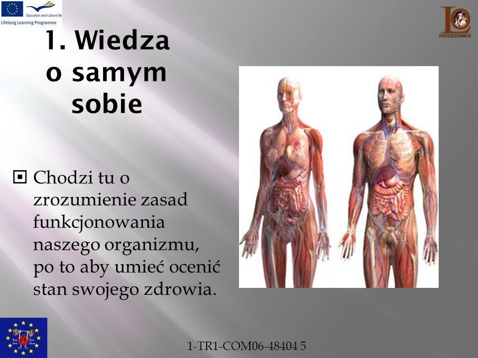 1. Wiedza o samym sobie  Chodzi tu o zrozumienie zasad funkcjonowania naszego organizmu, po to aby umieć ocenić stan swojego zdrowia. 1-TR1-COM06-484