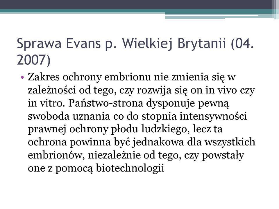 Sprawa Evans p.Wielkiej Brytanii (04.