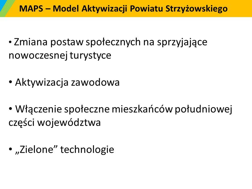 MAPS – Model Aktywizacji Powiatu Strzyżowskiego Zmiana postaw społecznych na sprzyjające nowoczesnej turystyce Aktywizacja zawodowa Włączenie społeczn