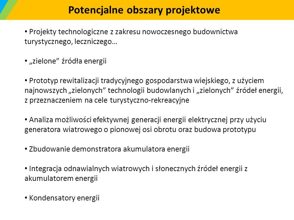 """Potencjalne obszary projektowe Projekty technologiczne z zakresu nowoczesnego budownictwa turystycznego, leczniczego… """"zielone"""" źródła energii Prototy"""