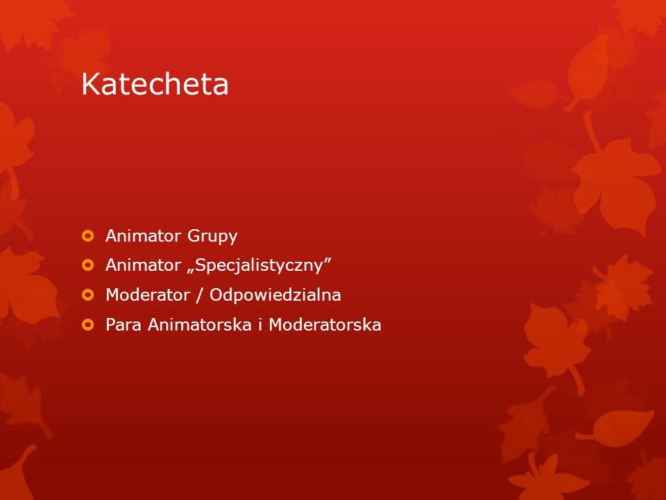 """Katecheta  Animator Grupy  Animator """"Specjalistyczny""""  Moderator / Odpowiedzialna  Para Animatorska i Moderatorska"""