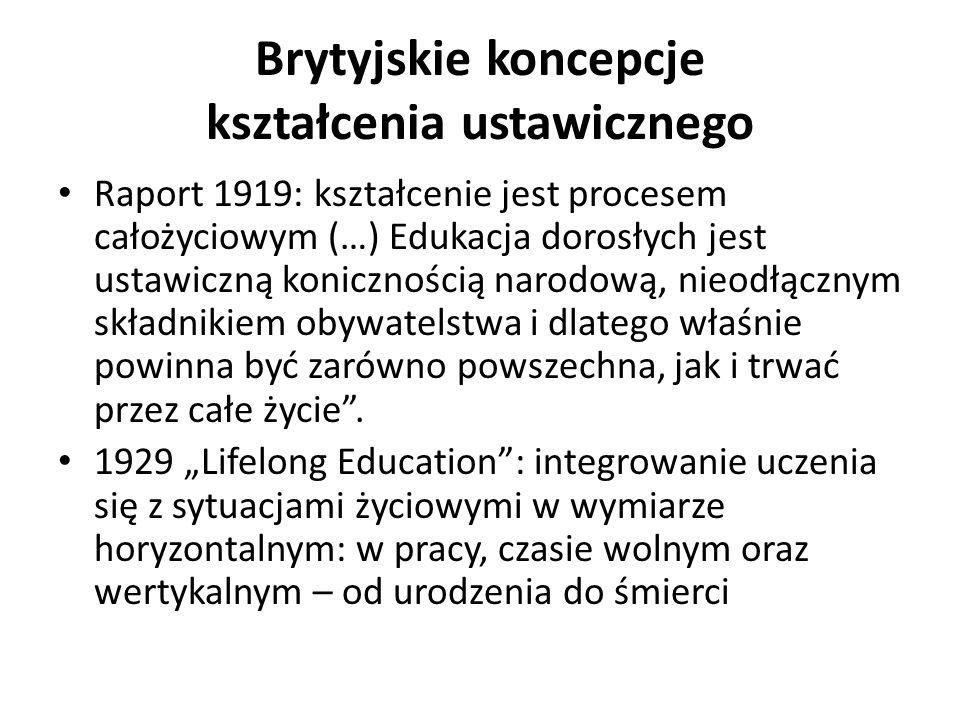 Brytyjskie koncepcje kształcenia ustawicznego Raport 1919: kształcenie jest procesem całożyciowym (…) Edukacja dorosłych jest ustawiczną konicznością