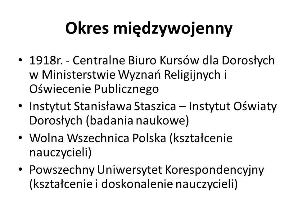 Okres międzywojenny 1918r. - Centralne Biuro Kursów dla Dorosłych w Ministerstwie Wyznań Religijnych i Oświecenie Publicznego Instytut Stanisława Stas