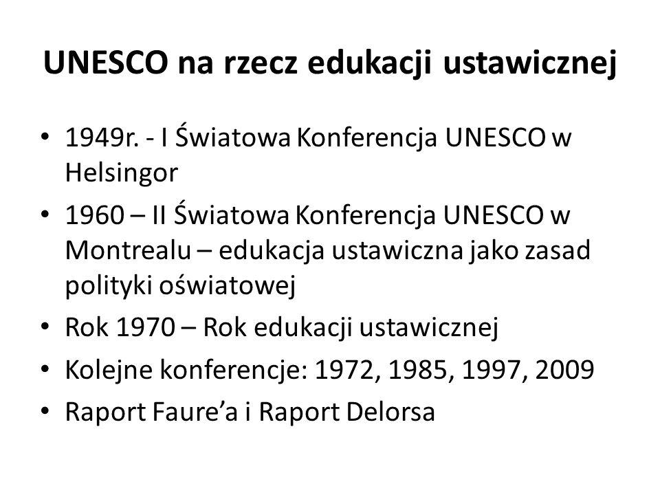 UNESCO na rzecz edukacji ustawicznej 1949r. - I Światowa Konferencja UNESCO w Helsingor 1960 – II Światowa Konferencja UNESCO w Montrealu – edukacja u