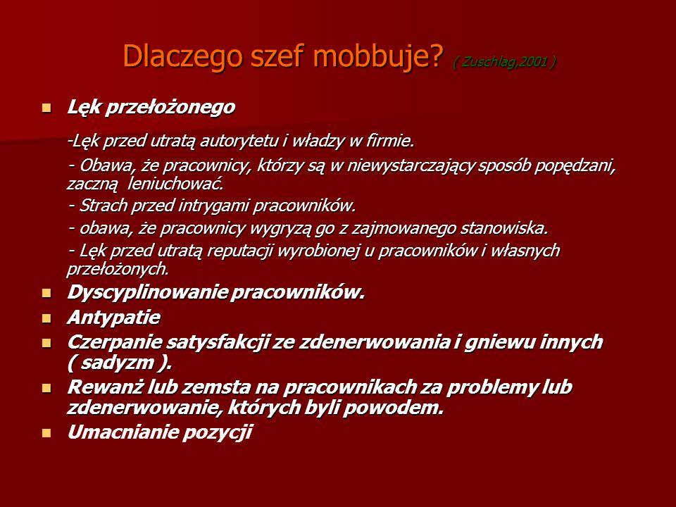 Dlaczego szef mobbuje? ( Zuschlag,2001 ) Lęk przełożonego Lęk przełożonego -Lęk przed utratą autorytetu i władzy w firmie. -Lęk przed utratą autorytet