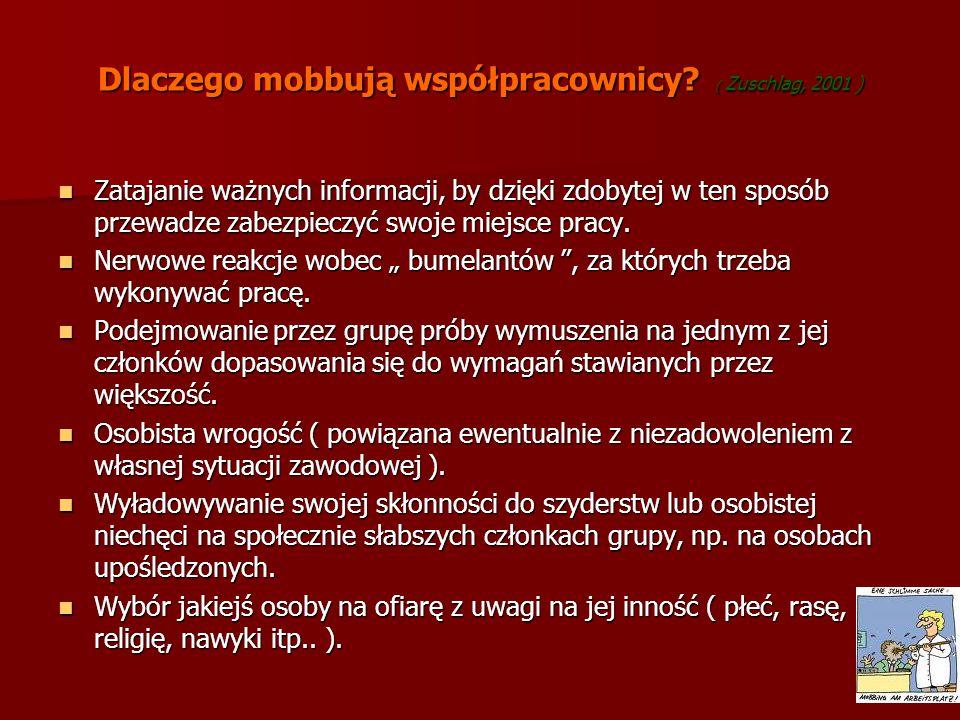 Dlaczego mobbują współpracownicy? ( Zuschlag, 2001 ) Zatajanie ważnych informacji, by dzięki zdobytej w ten sposób przewadze zabezpieczyć swoje miejsc
