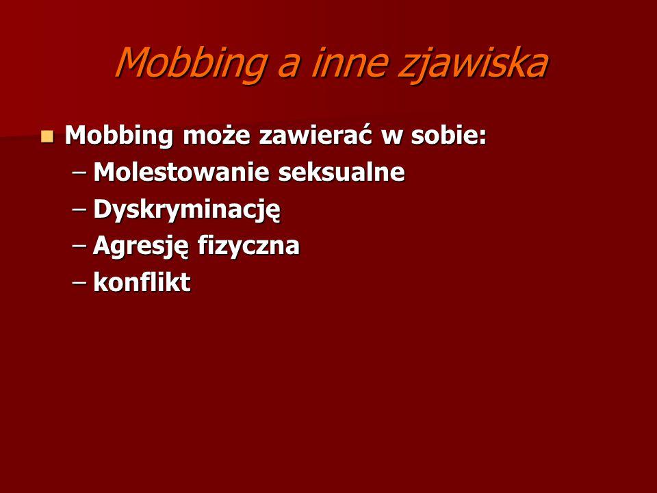 Mobbing a inne zjawiska Mobbing może zawierać w sobie: Mobbing może zawierać w sobie: –Molestowanie seksualne –Dyskryminację –Agresję fizyczna –konfli