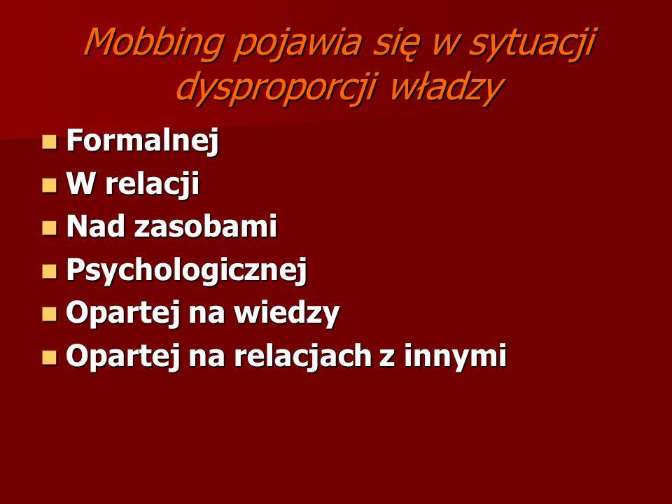 Mobbing pojawia się w sytuacji dysproporcji władzy Formalnej Formalnej W relacji W relacji Nad zasobami Nad zasobami Psychologicznej Psychologicznej O
