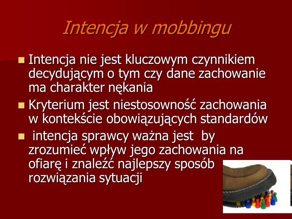 Intencja w mobbingu Intencja nie jest kluczowym czynnikiem decydującym o tym czy dane zachowanie ma charakter nękania Intencja nie jest kluczowym czyn