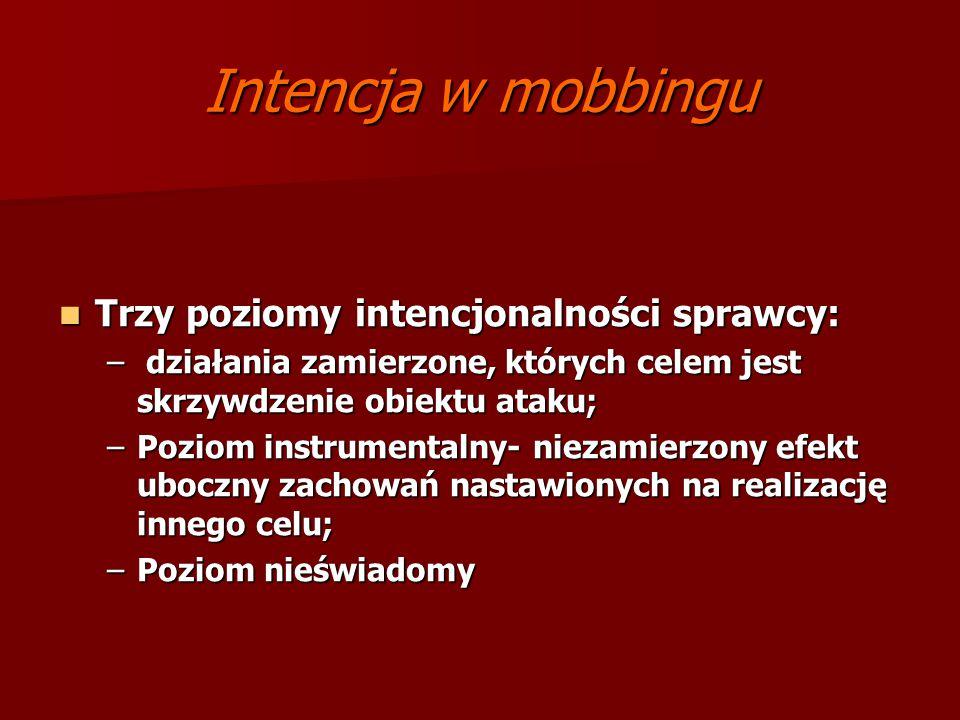 Intencja w mobbingu Trzy poziomy intencjonalności sprawcy: Trzy poziomy intencjonalności sprawcy: – działania zamierzone, których celem jest skrzywdze