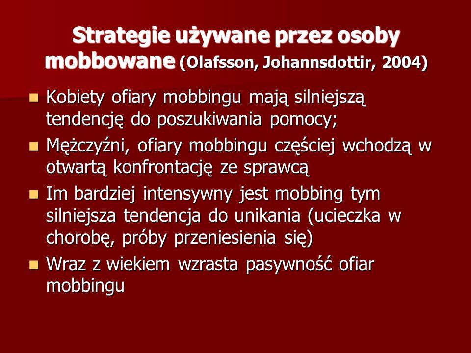 Strategie używane przez osoby mobbowane (Olafsson, Johannsdottir, 2004) Kobiety ofiary mobbingu mają silniejszą tendencję do poszukiwania pomocy; Kobi