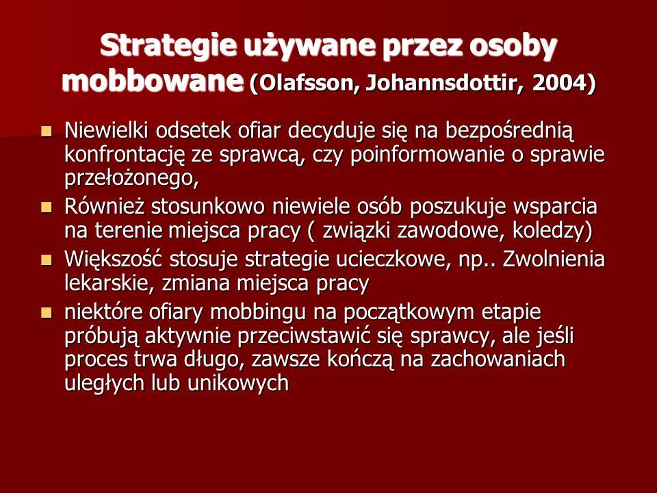 Strategie używane przez osoby mobbowane (Olafsson, Johannsdottir, 2004) Niewielki odsetek ofiar decyduje się na bezpośrednią konfrontację ze sprawcą,