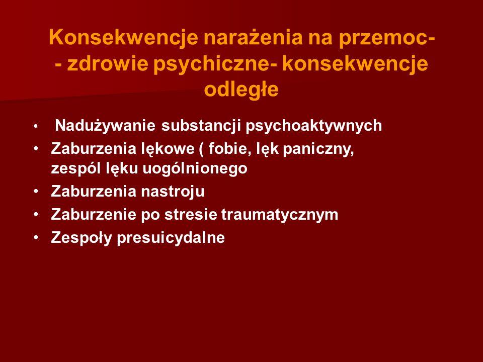 Konsekwencje narażenia na przemoc- - zdrowie psychiczne- konsekwencje odległe Nadużywanie substancji psychoaktywnych Zaburzenia lękowe ( fobie, lęk pa