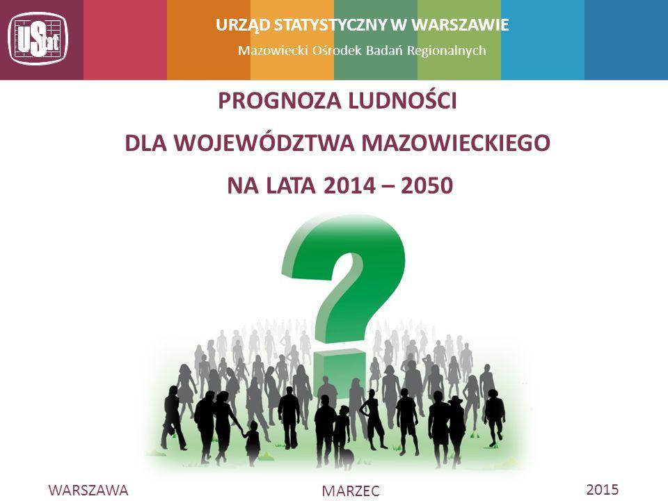 WARSZAWA MARZEC 2015 Mazowiecki Ośrodek Badań Regionalnych URZĄD STATYSTYCZNY W WARSZAWIE PROGNOZA LUDNOŚCI DLA WOJEWÓDZTWA MAZOWIECKIEGO NA LATA 2014 – 2050