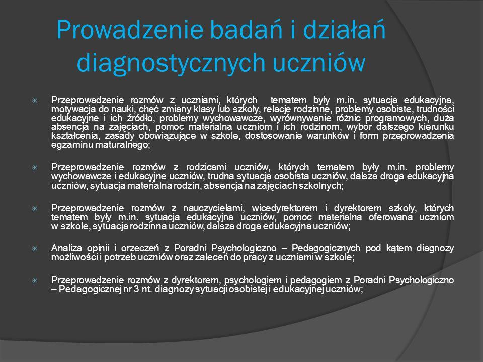 Prowadzenie badań i działań diagnostycznych uczniów  Przeprowadzenie rozmów z uczniami, których tematem były m.in. sytuacja edukacyjna, motywacja do
