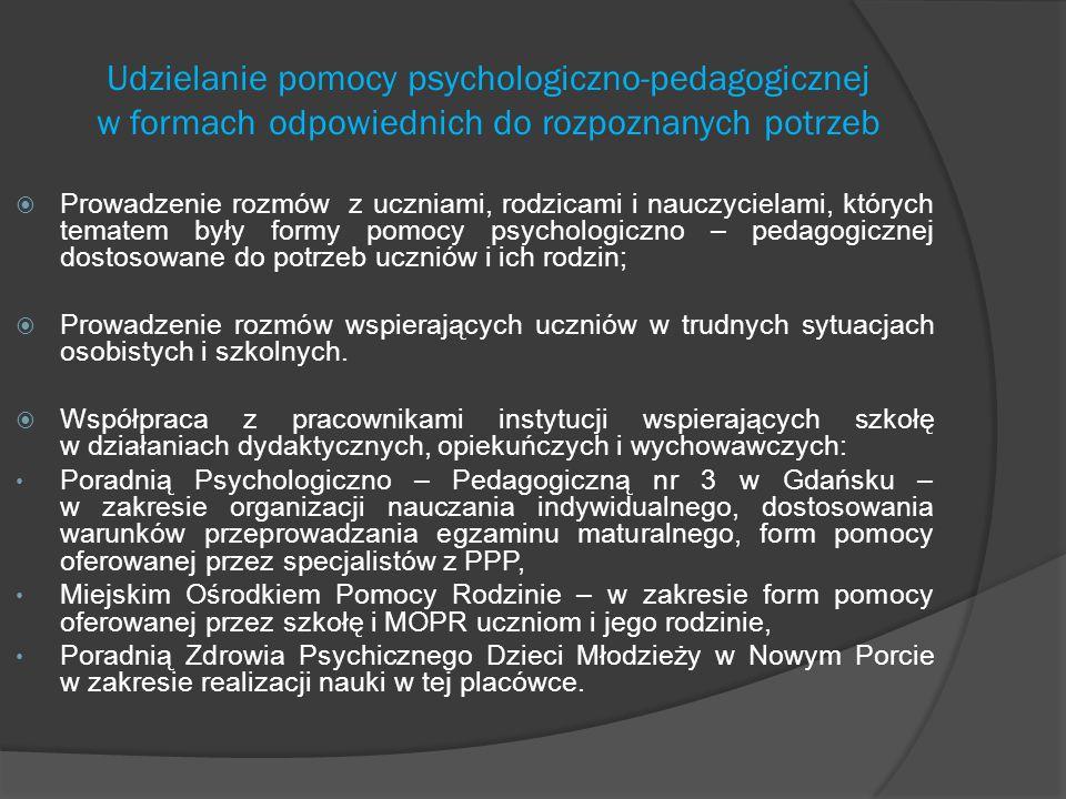 Udzielanie pomocy psychologiczno-pedagogicznej w formach odpowiednich do rozpoznanych potrzeb  Prowadzenie rozmów z uczniami, rodzicami i nauczyciela