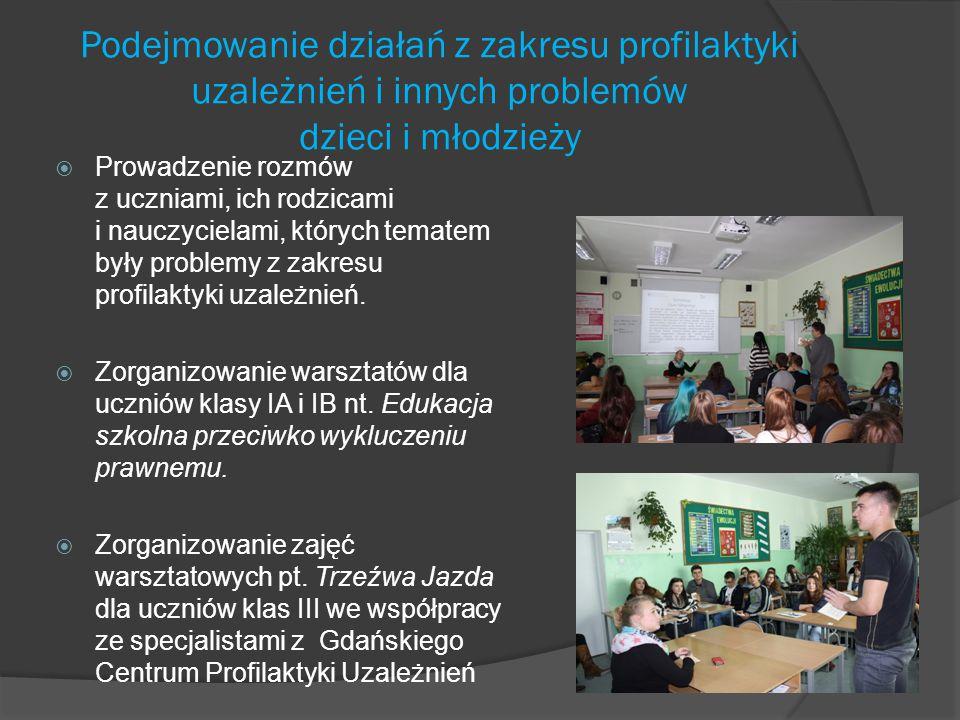 Rekomendacje  Ważne jest, by utrzymać współpracę ze specjalistami z instytucji wspierających szkołę w działaniach edukacyjnych, opiekuńczych i wychowawczych: Poradnią Psychologiczną – Pedagogiczna nr 3, Strażą Miejską, Ośrodkiem Promocji Zdrowia i Sprawności Dziecka Gdańskim Centrum Profilaktyki Uzależnień, Ośrodkiem Miejskim Ośrodkiem Pomocy Rodzinie, Wydziałem Rozwoju Społecznego, Okręgową Komisją Egzaminacyjną;  Należy kontynuować działania skierowane do rodziców uczniów – prelekcje wykłady, które będą odpowiadały na zgłaszane przez rodziców potrzeby;  W drugim semestrze należy zintensyfikować działania warsztatowe odpowiadające na potrzeby uczniów.