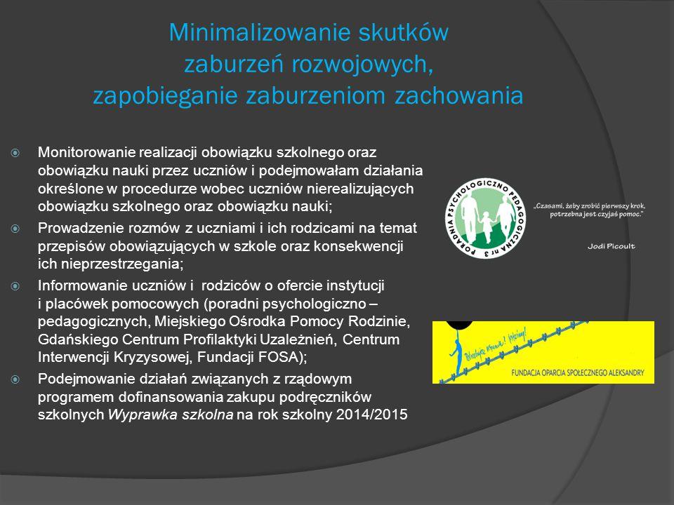 Minimalizowanie skutków zaburzeń rozwojowych, zapobieganie zaburzeniom zachowania  Monitorowanie realizacji obowiązku szkolnego oraz obowiązku nauki