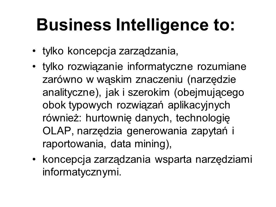 Business Intelligence to: tylko koncepcja zarządzania, tylko rozwiązanie informatyczne rozumiane zarówno w wąskim znaczeniu (narzędzie analityczne), j