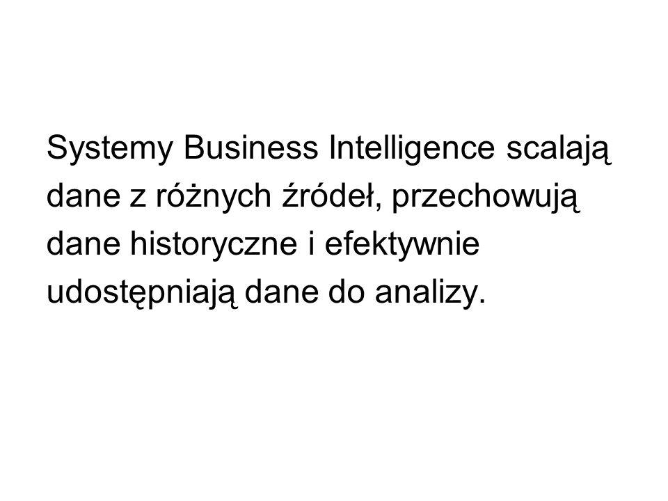 Systemy Business Intelligence scalają dane z różnych źródeł, przechowują dane historyczne i efektywnie udostępniają dane do analizy.