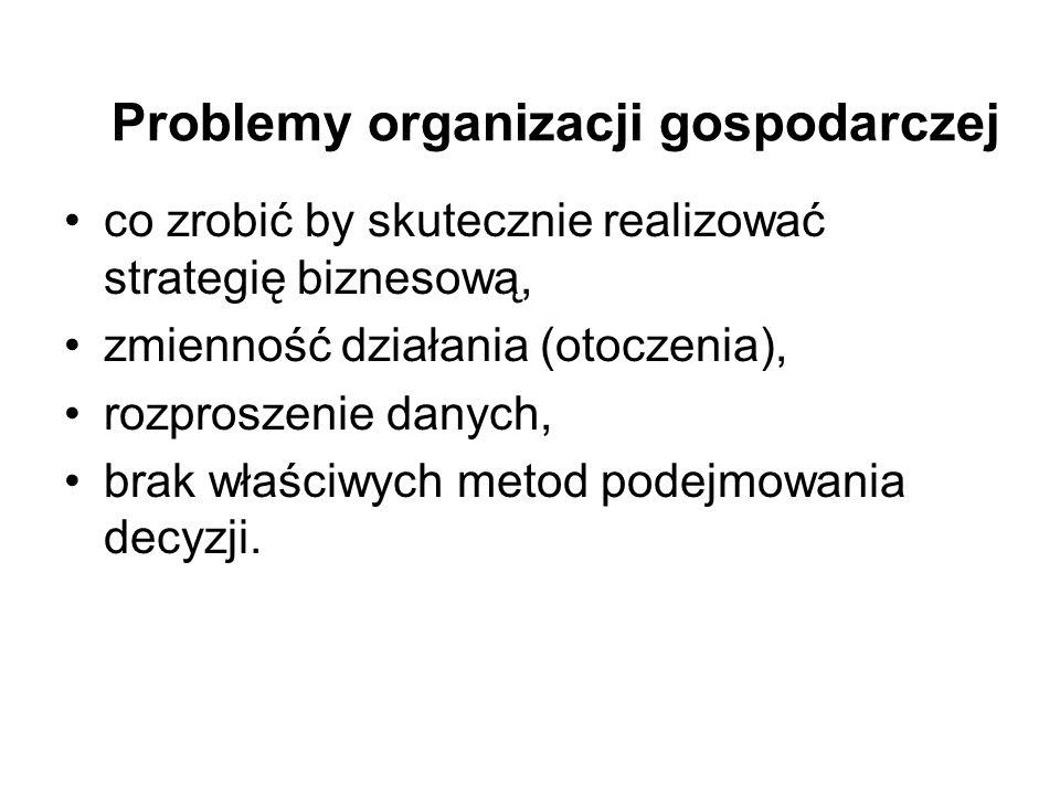 Problemy organizacji gospodarczej co zrobić by skutecznie realizować strategię biznesową, zmienność działania (otoczenia), rozproszenie danych, brak w