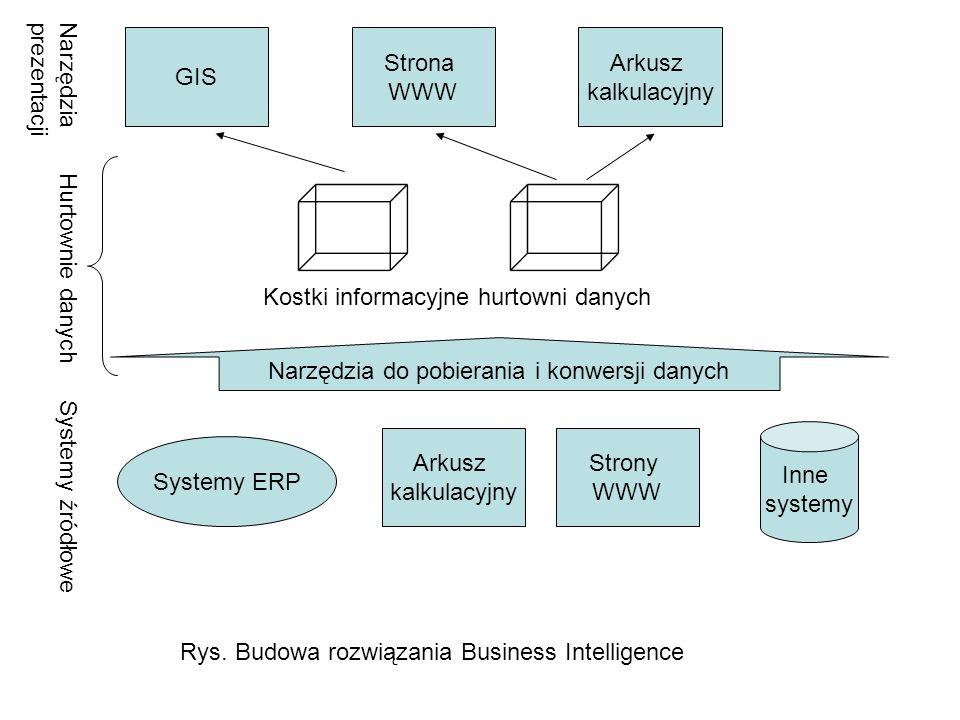 Systemy ERP Arkusz kalkulacyjny Strony WWW Inne systemy Systemy źródłowe Narzędzia do pobierania i konwersji danych Hurtownie danych Kostki informacyj