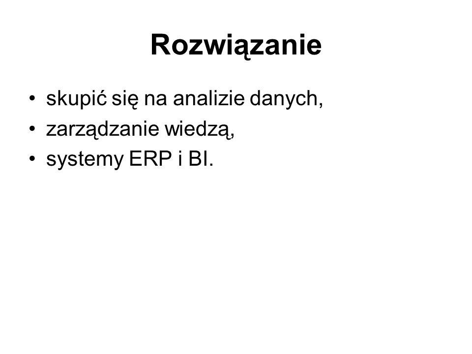 Rozwiązanie skupić się na analizie danych, zarządzanie wiedzą, systemy ERP i BI.