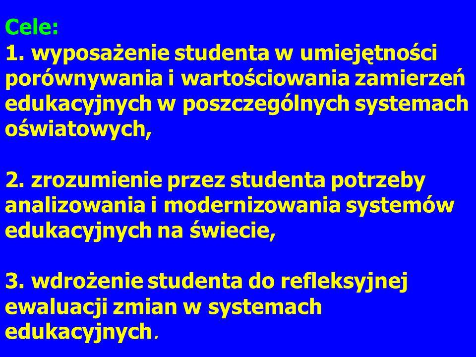 Cele: 1. wyposażenie studenta w umiejętności porównywania i wartościowania zamierzeń edukacyjnych w poszczególnych systemach oświatowych, 2. zrozumien