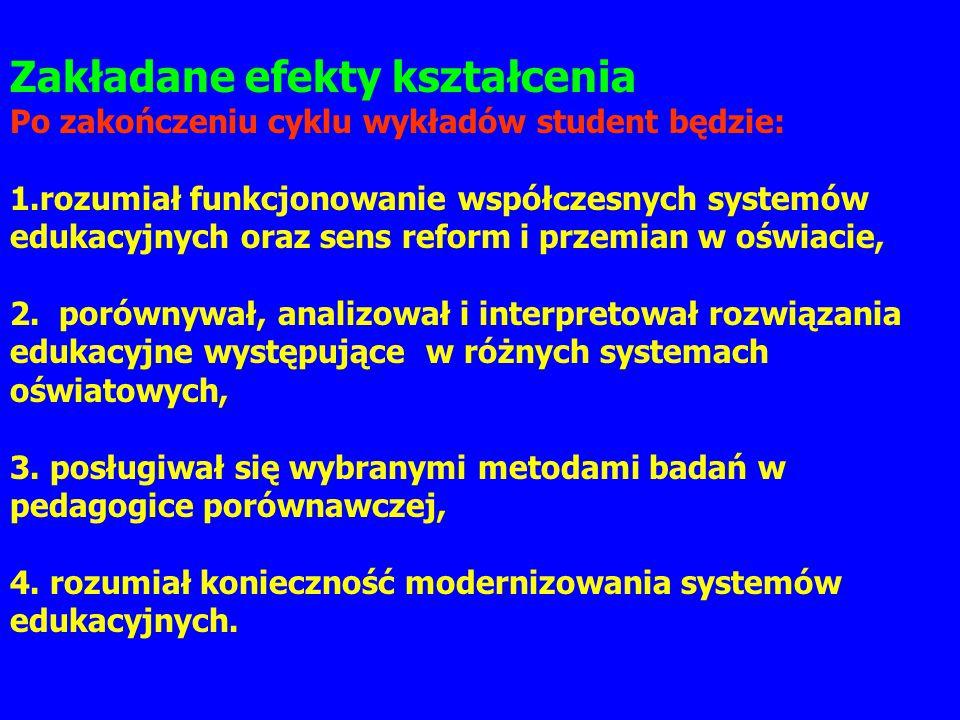Zakładane efekty kształcenia Po zakończeniu cyklu wykładów student będzie: 1.rozumiał funkcjonowanie współczesnych systemów edukacyjnych oraz sens ref
