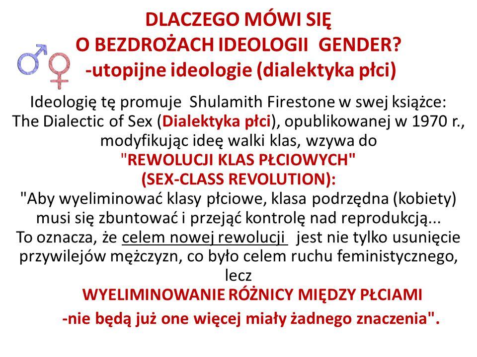 Ideologię tę promuje Shulamith Firestone w swej książce: The Dialectic of Sex (Dialektyka płci), opublikowanej w 1970 r., modyfikując ideę walki klas,