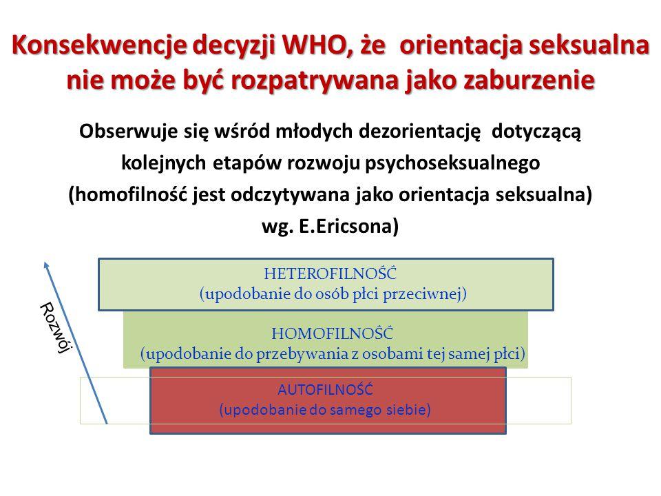 Obserwuje się wśród młodych dezorientację dotyczącą kolejnych etapów rozwoju psychoseksualnego (homofilność jest odczytywana jako orientacja seksualna