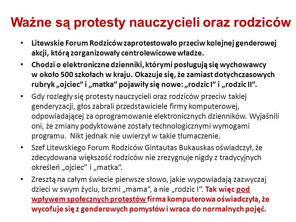 Litewskie Forum Rodziców zaprotestowało przeciw kolejnej genderowej akcji, którą zorganizowały centrolewicowe władze. Chodzi o elektroniczne dzienniki