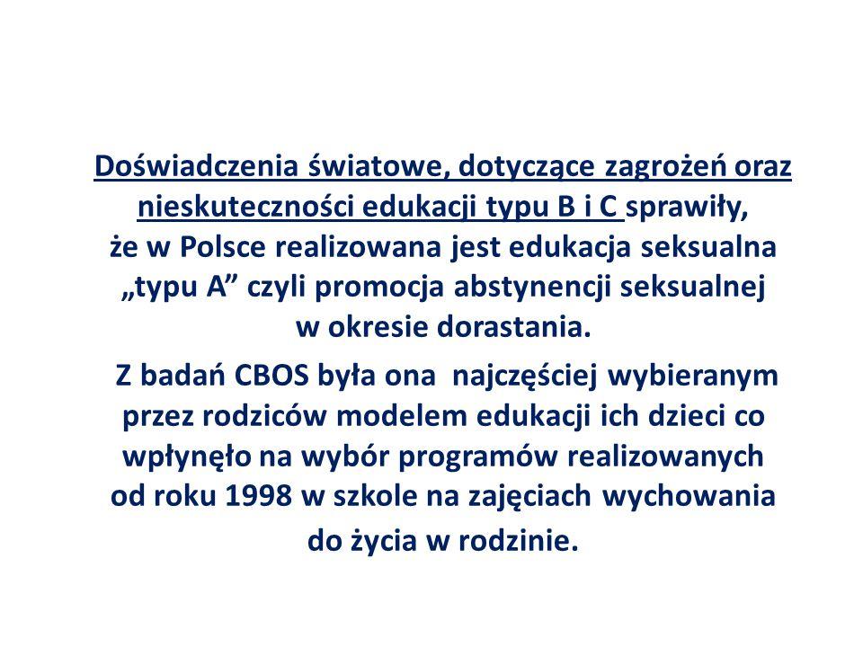 """Doświadczenia światowe, dotyczące zagrożeń oraz nieskuteczności edukacji typu B i C sprawiły, że w Polsce realizowana jest edukacja seksualna """"typu A"""""""