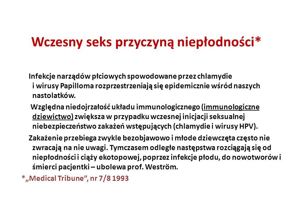 Wczesny seks przyczyną niepłodności* Infekcje narządów płciowych spowodowane przez chlamydie i wirusy Papilloma rozprzestrzeniają się epidemicznie wśr