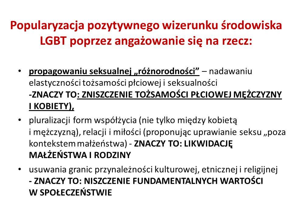 """propagowaniu seksualnej """"różnorodności"""" – nadawaniu elastyczności tożsamości płciowej i seksualności -ZNACZY TO: ZNISZCZENIE TOŻSAMOŚCI PŁCIOWEJ MĘŻCZ"""