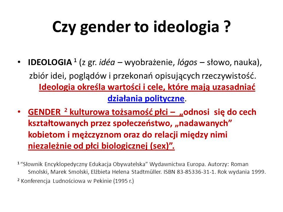 Czy gender to ideologia ? IDEOLOGIA 1 (z gr. idéa – wyobrażenie, lógos – słowo, nauka), zbiór idei, poglądów i przekonań opisujących rzeczywistość. Id