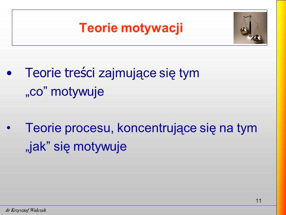 """11 Teorie motywacji Teorie treści zajmujące się tym """"co motywuje Teorie procesu, koncentrujące się na tym """"jak się motywuje dr Krzysztof Walczak"""