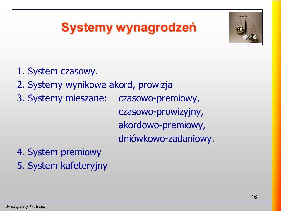 46 Systemy wynagrodzeń 1.System czasowy. 2. Systemy wynikowe akord, prowizja 3.
