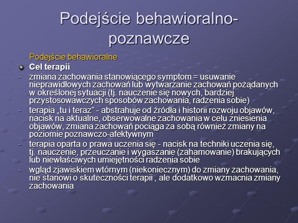 Podejście behawioralno- poznawcze Podejście behawioralne Cel terapii -zmiana zachowania stanowiącego symptom = usuwanie nieprawidłowych zachowań lub wytwarzanie zachowań pożądanych w określonej sytuacji (tj.